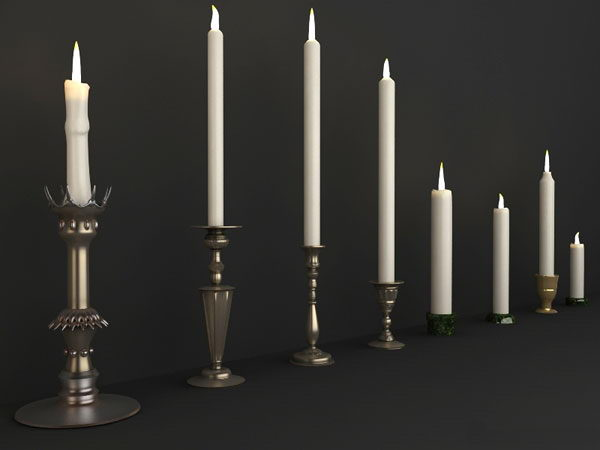 Delicate european-style candle 3D models