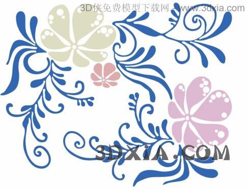 3D model texture wallpaper flowers (including materials)