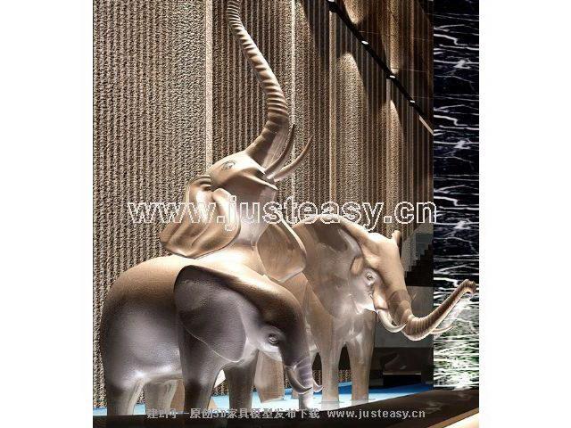 Ornament - elephant 3D model (including materials)