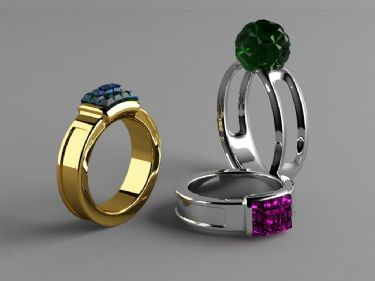 Color Gemstone Ring Model