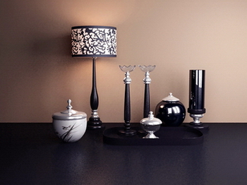 French table lamp and the combination of 3D Model of Menorah