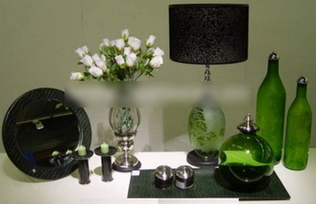 Green glass art decoration