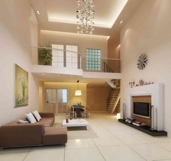 Simple white duplex living room
