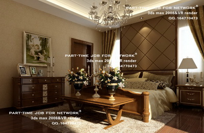 Spacious and luxurious European-style bedroom