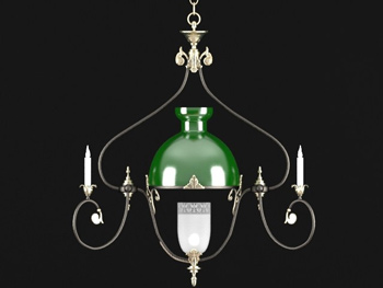 Green shade simple chandelier