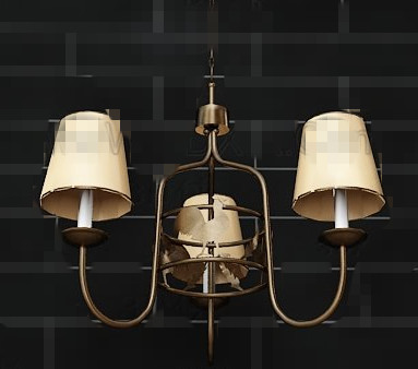 Yellow lampshade metal frame pendant