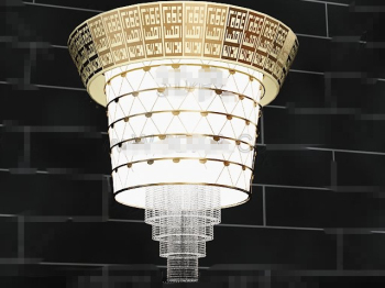 Magnificent gold lace curtain pendant lamp
