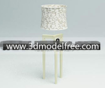Fabric flower compiled wooden bottom lamp