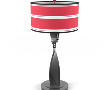 Red abstract distorted shape holder lamp