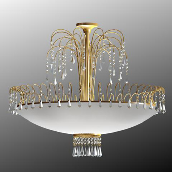 Gold metal frame crystal chandelier
