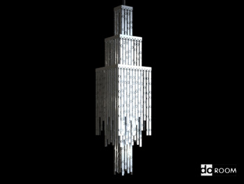 Square multi-storey crystal chandelier