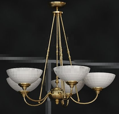 Gold metal frame white chandelier