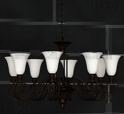 Simple metal frame white chandelier