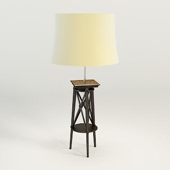 Modern wooden base floor lamp