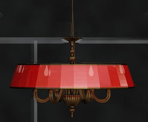 Red shade metal chain pendant lamp
