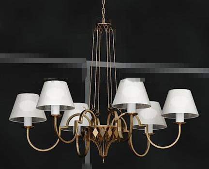 White lampshade metal pendant lamp