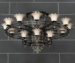 Double loop retro metal chandelier