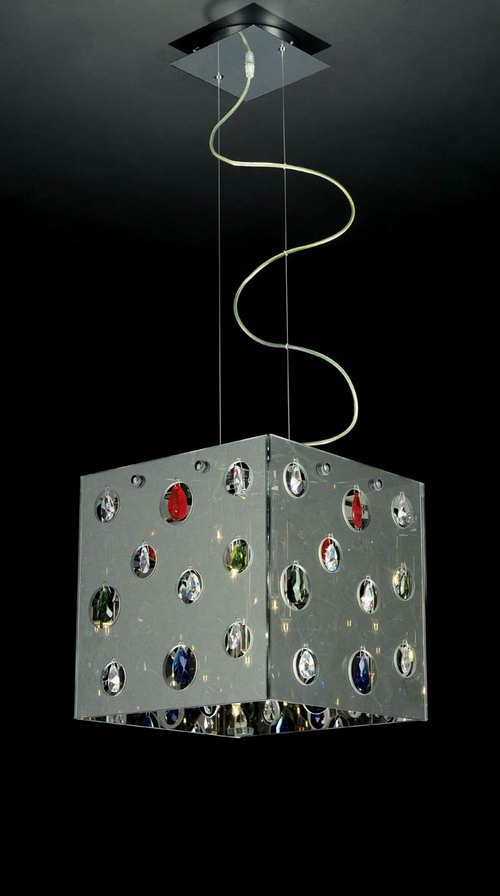 Inline square lampshade chandelier