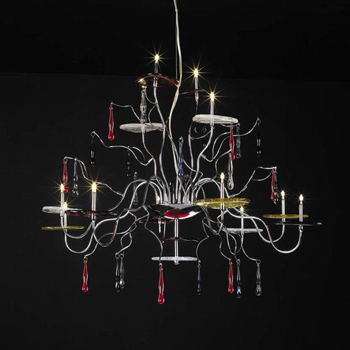 Classic wrought iron red crystal chandelier