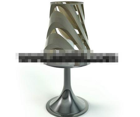 Embossed silver metal table lamp