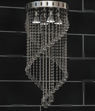 Transparent bead curtain-style pendant lamp