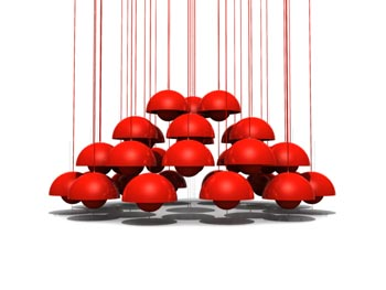 Combination of spherical red chandelier