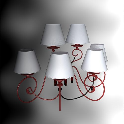 Continental Iron Chandelier Shade Pink 2