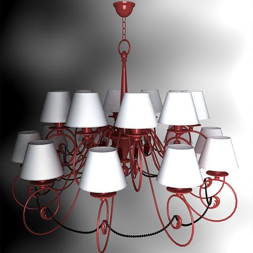 Continental Iron chandelier pink lampshade