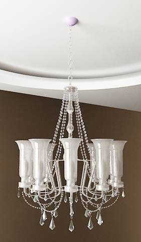 Ivory candle glass chandelier 3D models