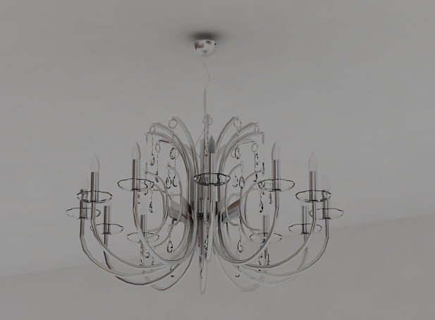 Argent tubular glass chandelier 3D models