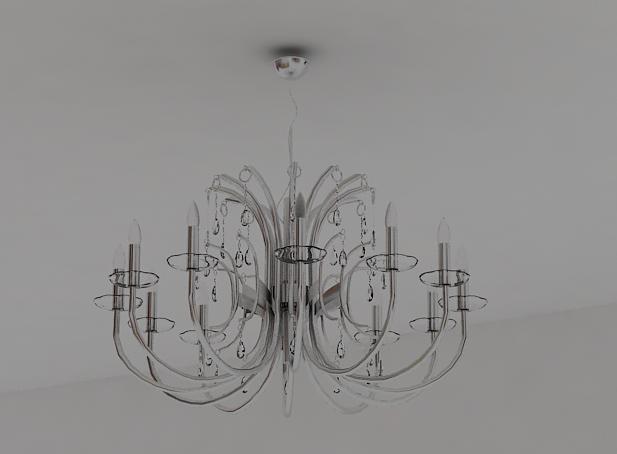 Argent tubular glass chandelier 3D models