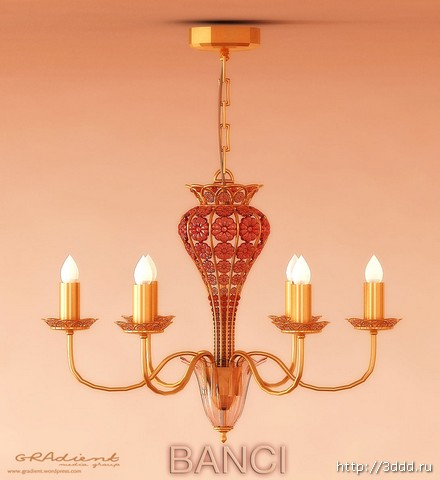 Fourth, wrought iron candle droplight 3D models