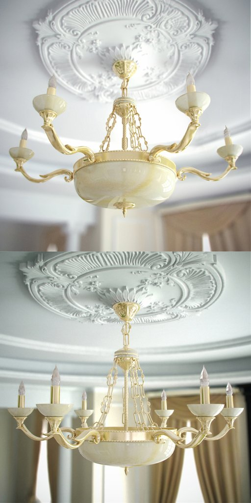 3D Model of European stone chandelier