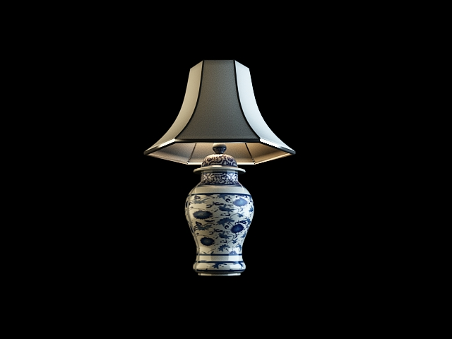Blue and white porcelain lamp 3D models (including material),