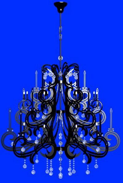 Pendant Light 3Ds Max Model: Black Crystal 2-Tier Chandeliers