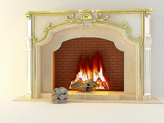 European-style marble fireplace