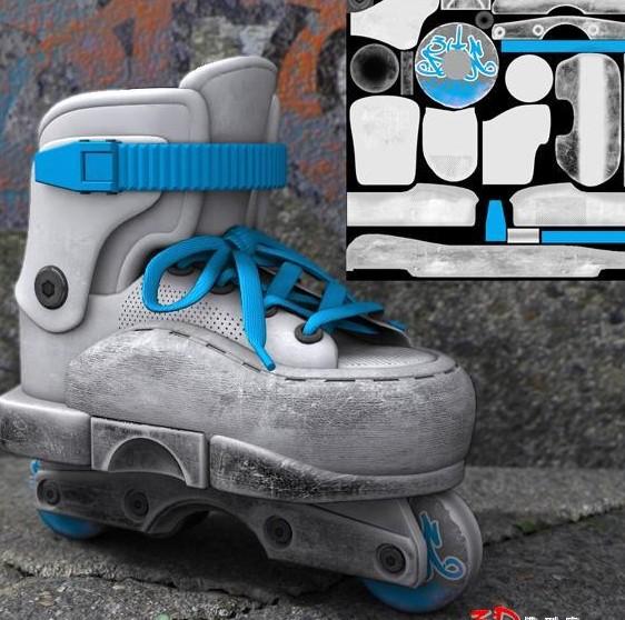 Single white skates