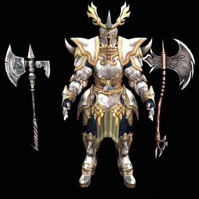 3Ds Max Model: PC Game Character Golden Armor