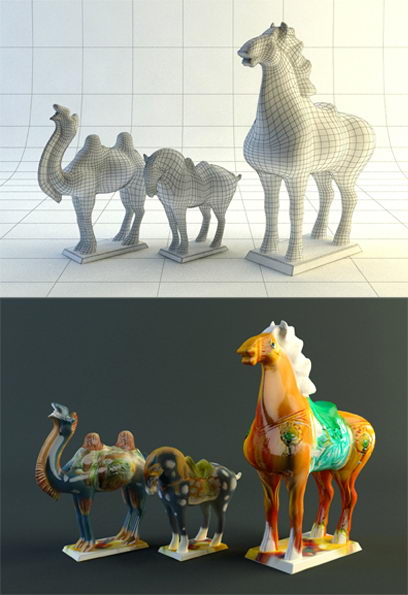 Tang Dynasty pottery horse 3D model (including materials)