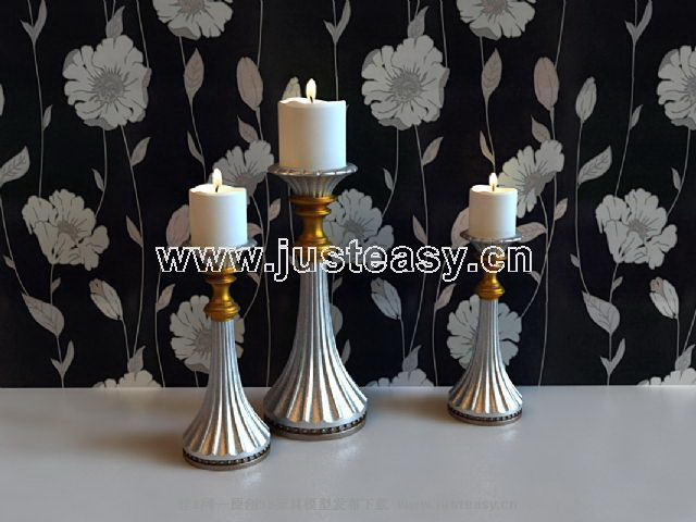 Continental silver candlesticks