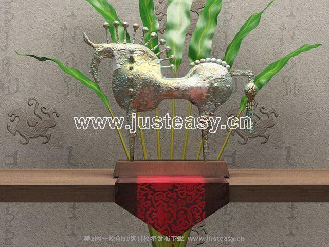 Southeast decoration - metal horse 3D model (including materials)