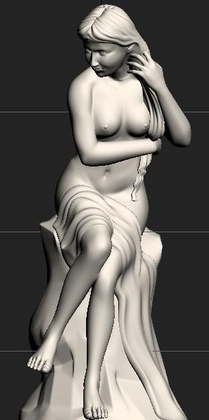long hair female statue