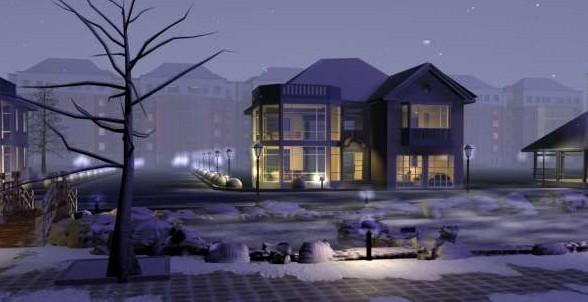 Frost in modern architecture villa