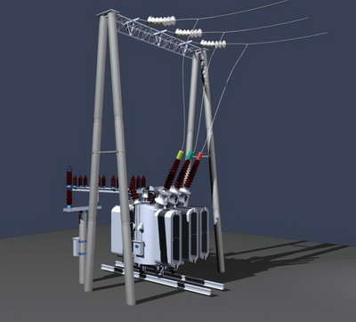 3D model of high-voltage transformers