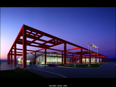 Airport exterior view 3D models