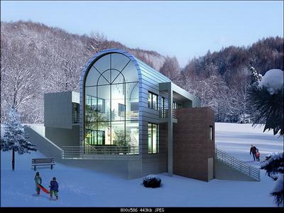 Villa outside the snow 3D Models