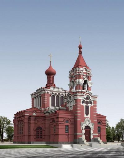 Exterior Model: Red Church 3DsMax Model