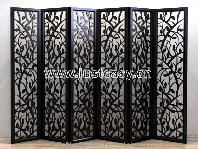 Classical Chinese wooden screen 3D model of tickets (including materials)