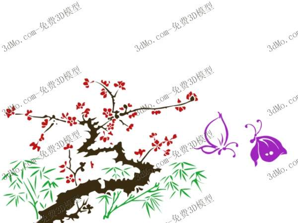 3D model of bamboo walls painted plum blossom