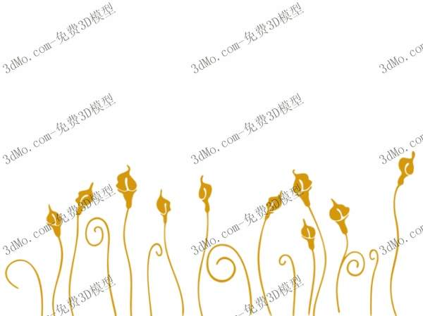 3D Model of yellow grass wall painting